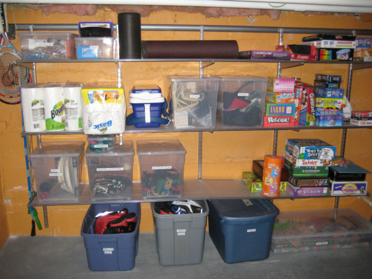Basement in Houston after decluttering and adding storage